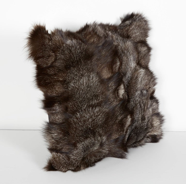 Mid-Century Modern Ultra Luxe Fox Fur Pillows in Hues of Grey For Sale