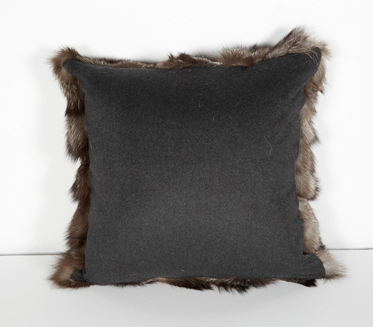 American Ultra Luxe Fox Fur Pillows in Hues of Grey For Sale