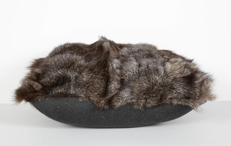 Hand-Crafted Ultra Luxe Fox Fur Pillows in Hues of Grey For Sale