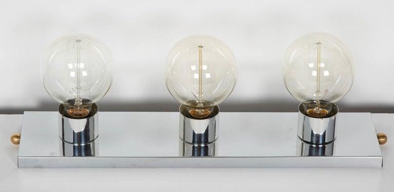 Mid century modern chromed vanity light with atomic design at 1stdibs for Mid century bathroom lighting