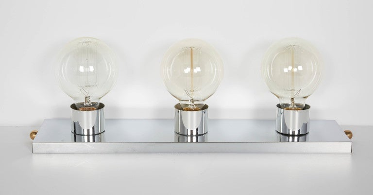 Mid Century Modern Chromed Vanity Light With Atomic Design