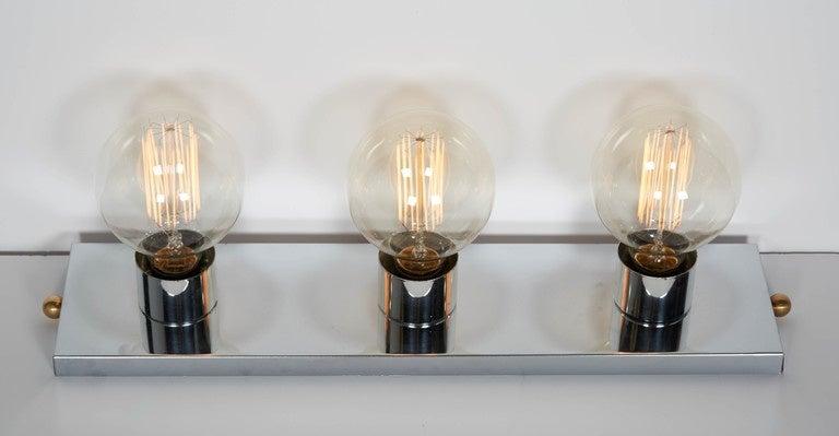 Mid Century Modern Chromed Vanity Light With Atomic Design At 1stdibs