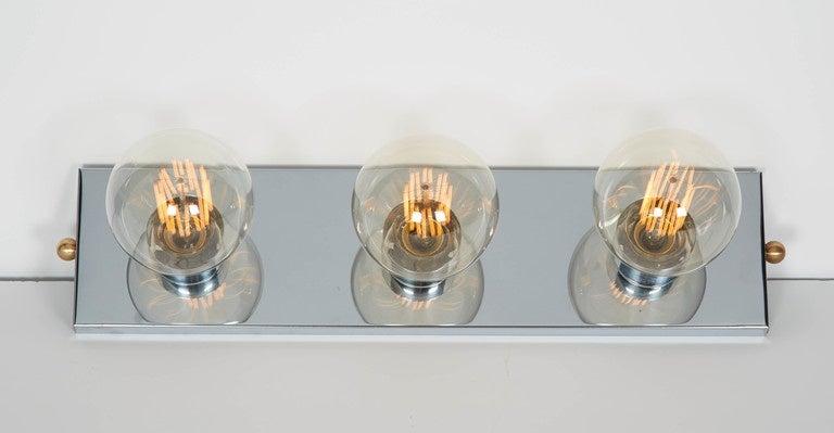 mid century modern chromed vanity light with atomic design for sale at. Black Bedroom Furniture Sets. Home Design Ideas