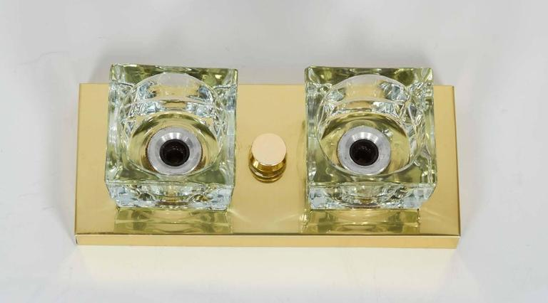 Pair of Mid-Century Brass and Glass Sconces by Gaetano Sciolari  For Sale 2