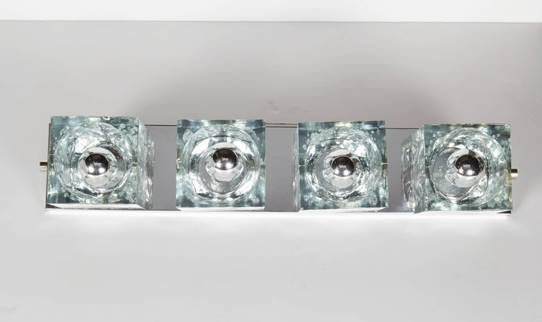 Cut Glass Mid-Century Modern Wall Light with Cubist Design by Gaetano Sciolari For Sale