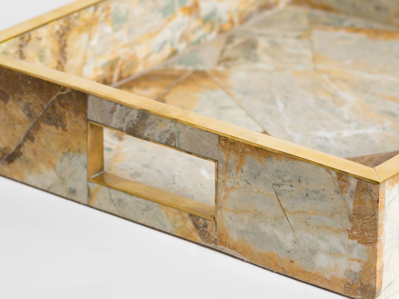 Onyx Trim Pieces : Geometric onyx marble tray with brass trim details for