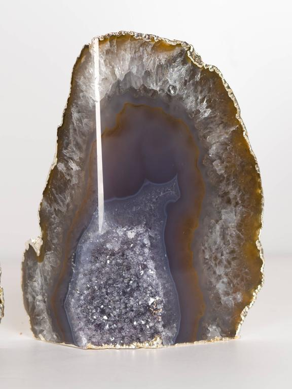 Organic Agate and Quartz Crystal Bookends Wrapped in White Gold In Excellent Condition For Sale In Stamford, CT