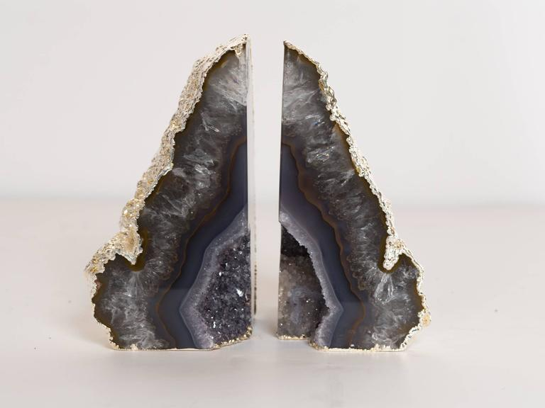 Organic Modern Organic Agate and Quartz Crystal Bookends Wrapped in White Gold For Sale