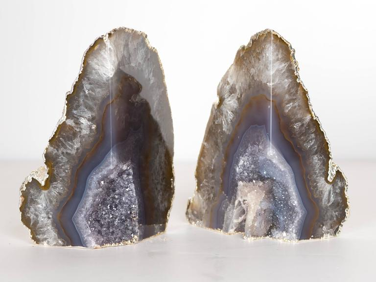 Contemporary Organic Agate and Quartz Crystal Bookends Wrapped in White Gold For Sale