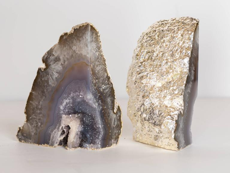 Gold Plate Organic Agate and Quartz Crystal Bookends Wrapped in White Gold For Sale