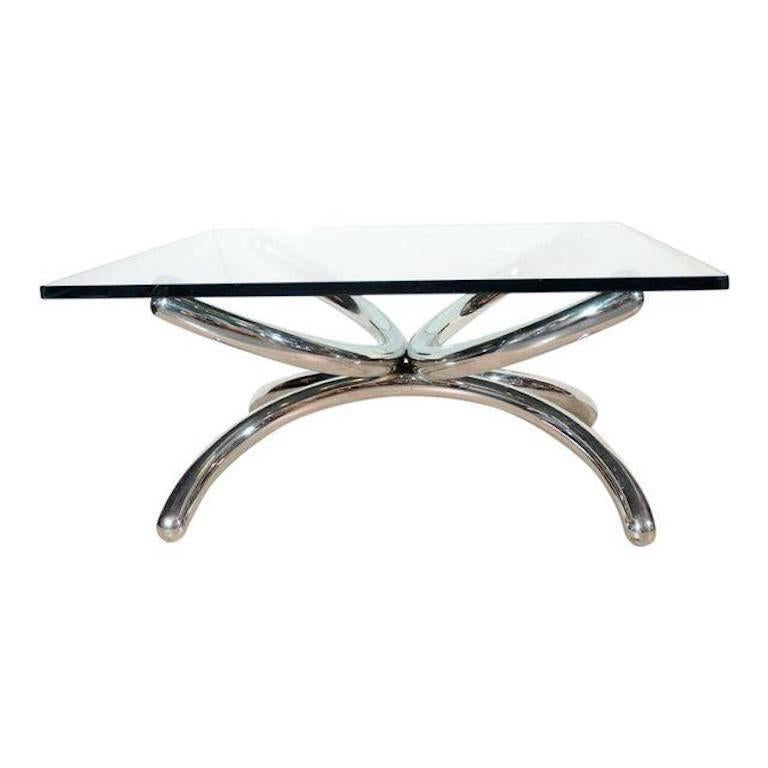 Italian Mid Century Modern Coffee Table With Sculptural Base Design For