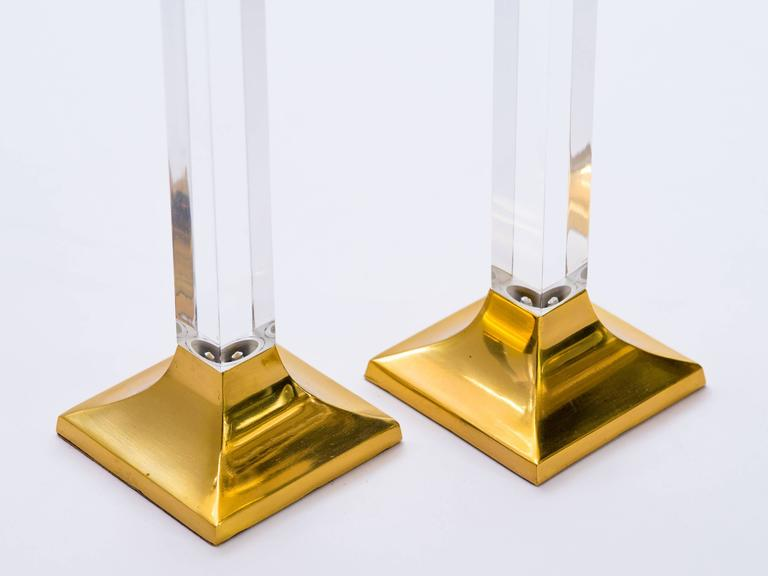 Pair of Vintage Brass and Lucite Candleholders 6
