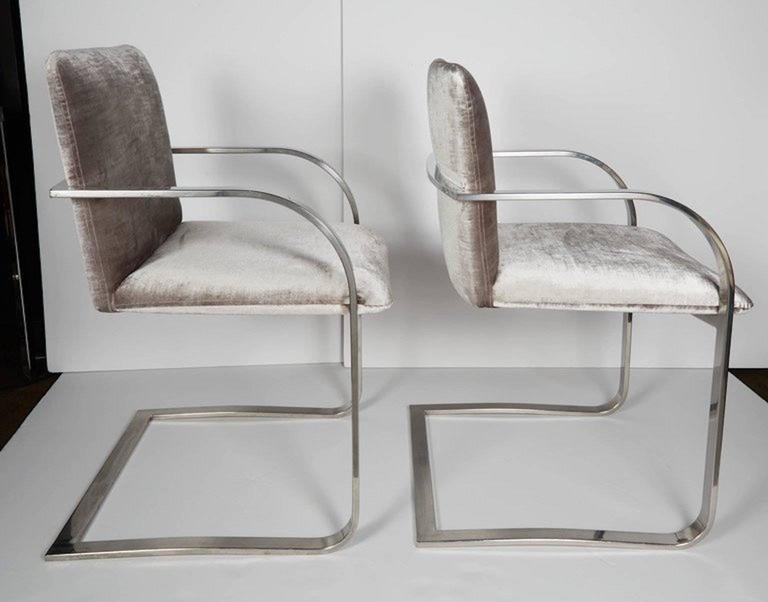 American Mid-Century Chrome and Velvet Desk Chair by Brueton For Sale