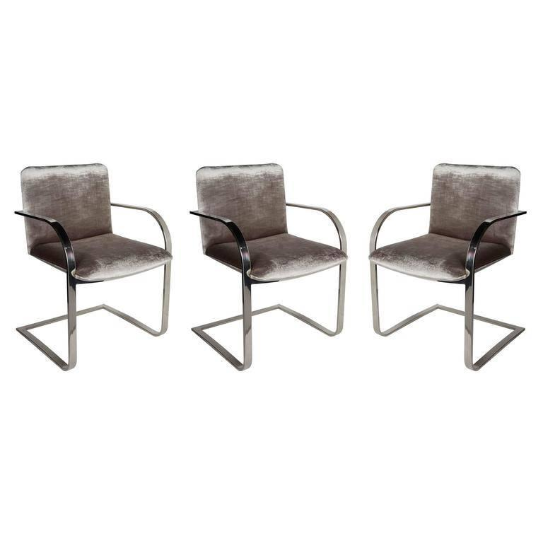 Mid-Century Chrome and Velvet Desk Chair by Brueton In Excellent Condition For Sale In Stamford, CT