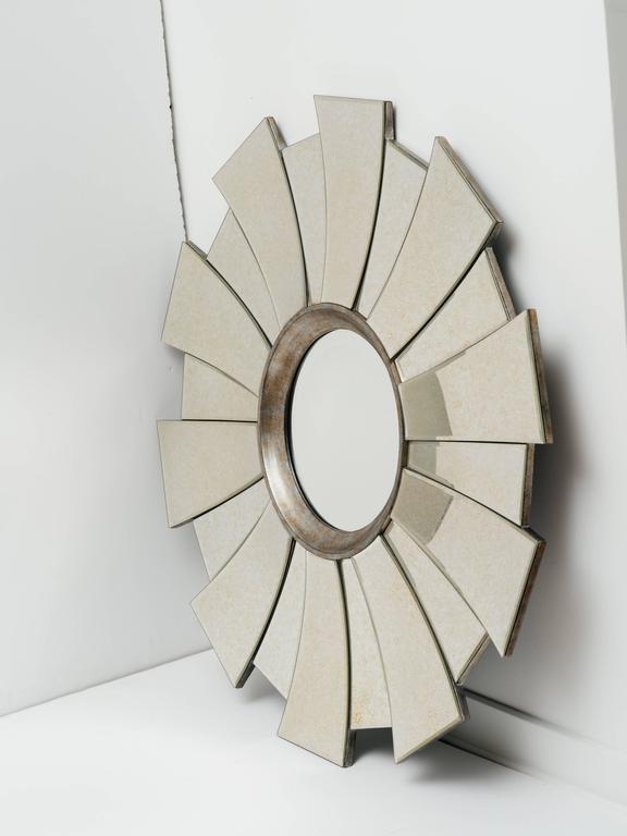 Beveled Art Deco Style Sunburst Mirror For Sale
