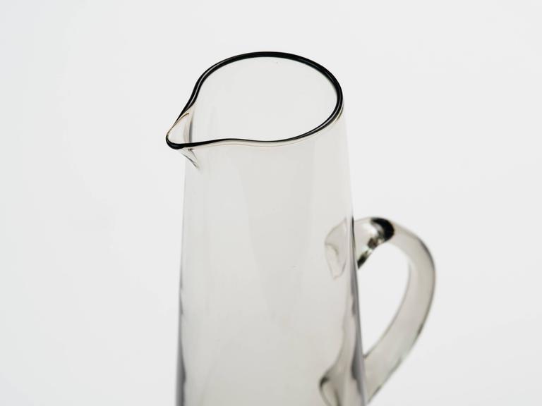 Scandinavian Modern Smoked Glass Vase / Martini Pitcher 3
