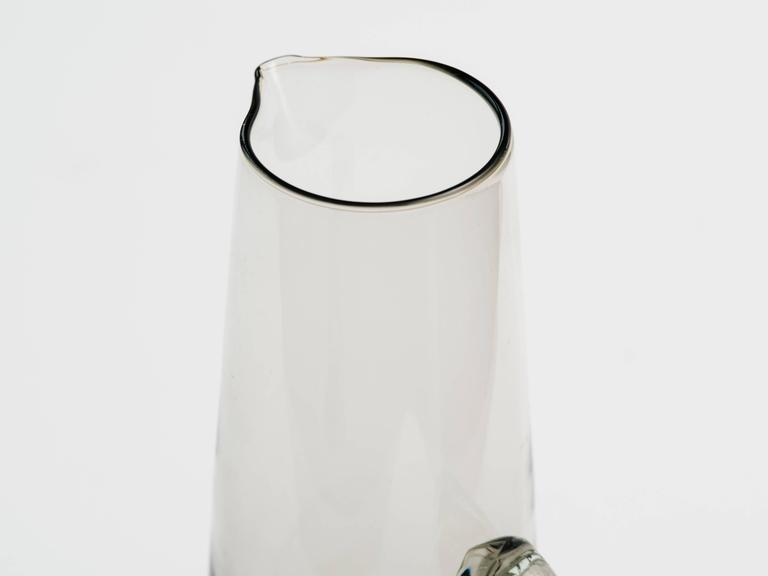 Scandinavian Modern Smoked Glass Vase / Martini Pitcher 5