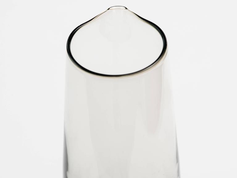 Scandinavian Modern Smoked Glass Vase / Martini Pitcher 8