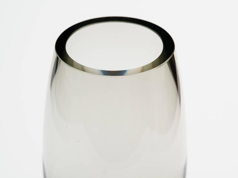 Danish Modern Smoked Grey Glass Vase by Holmegaard 3