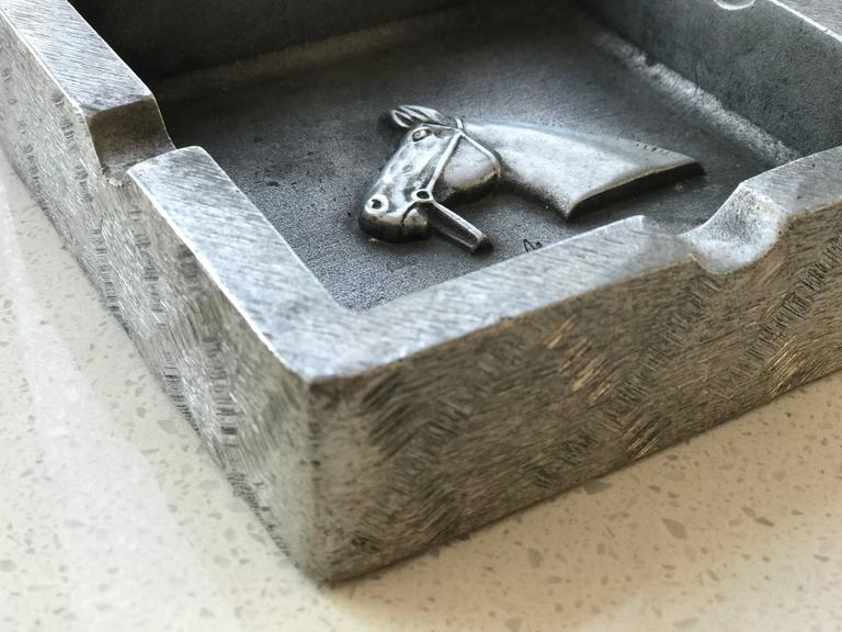 Hand-Carved Mid-Century Modern Equestrian Theme Ashtray in Pewter For Sale