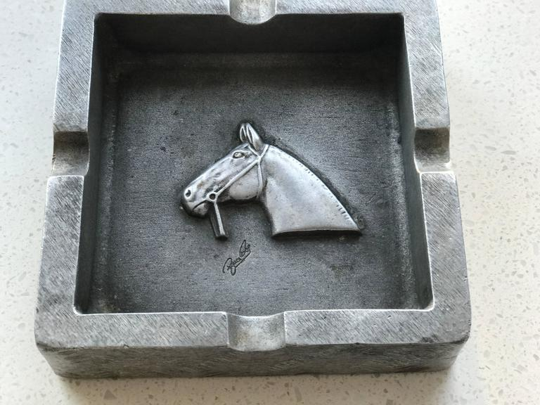 Mid-20th Century Mid-Century Modern Equestrian Theme Ashtray in Pewter For Sale