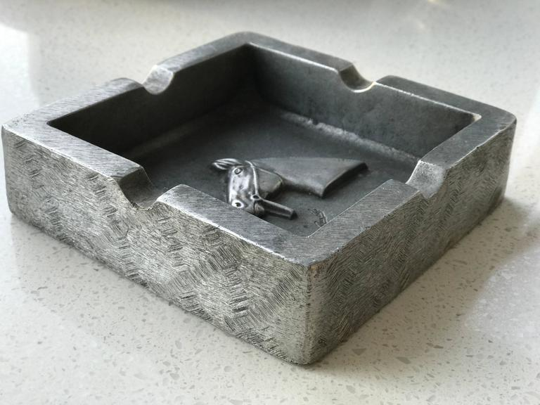 Mid-Century Modern Equestrian Theme Ashtray in Pewter For Sale 2