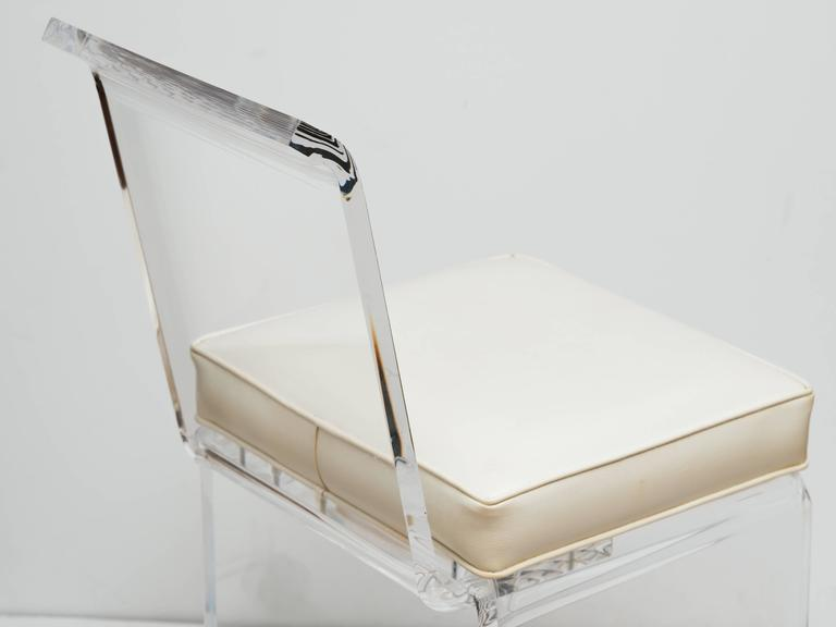 Mid-Century Lucite Vanity Stool with Full Back Design Includes (COM) 7