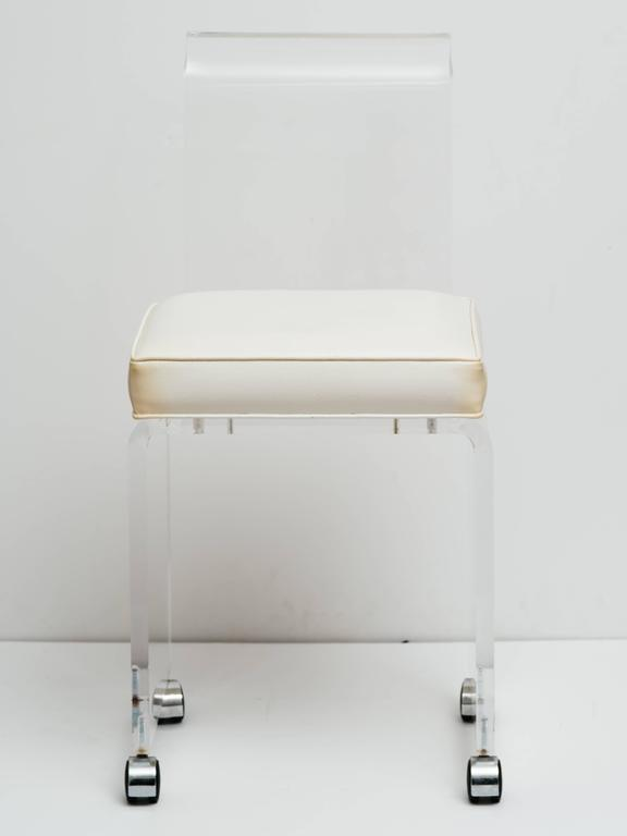 Mid-Century Lucite Vanity Stool with Full Back Design Includes (COM) 3