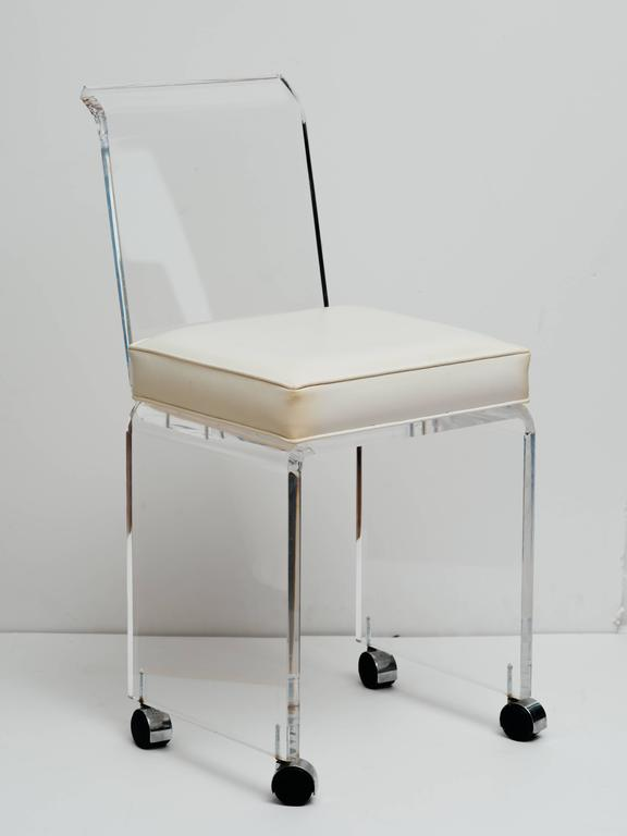 Mid-Century Lucite Vanity Stool with Full Back Design Includes (COM) For Sale 2