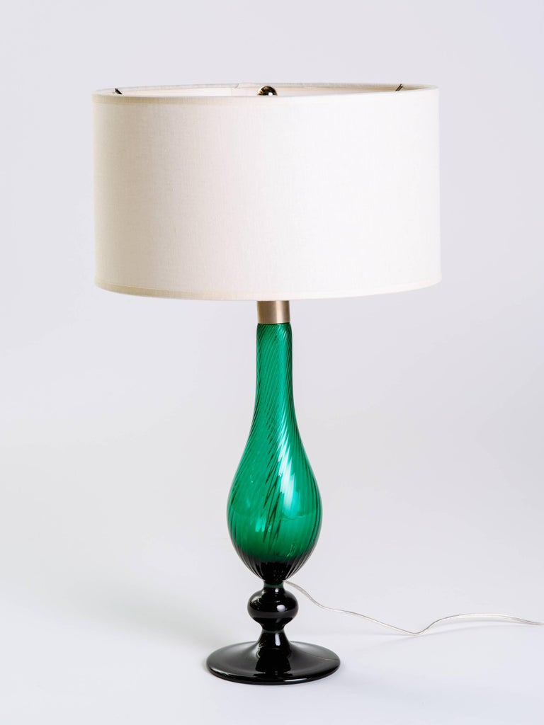 Pair of Swedish Mid-Century Modern Glass Lamps in Emerald Green 2