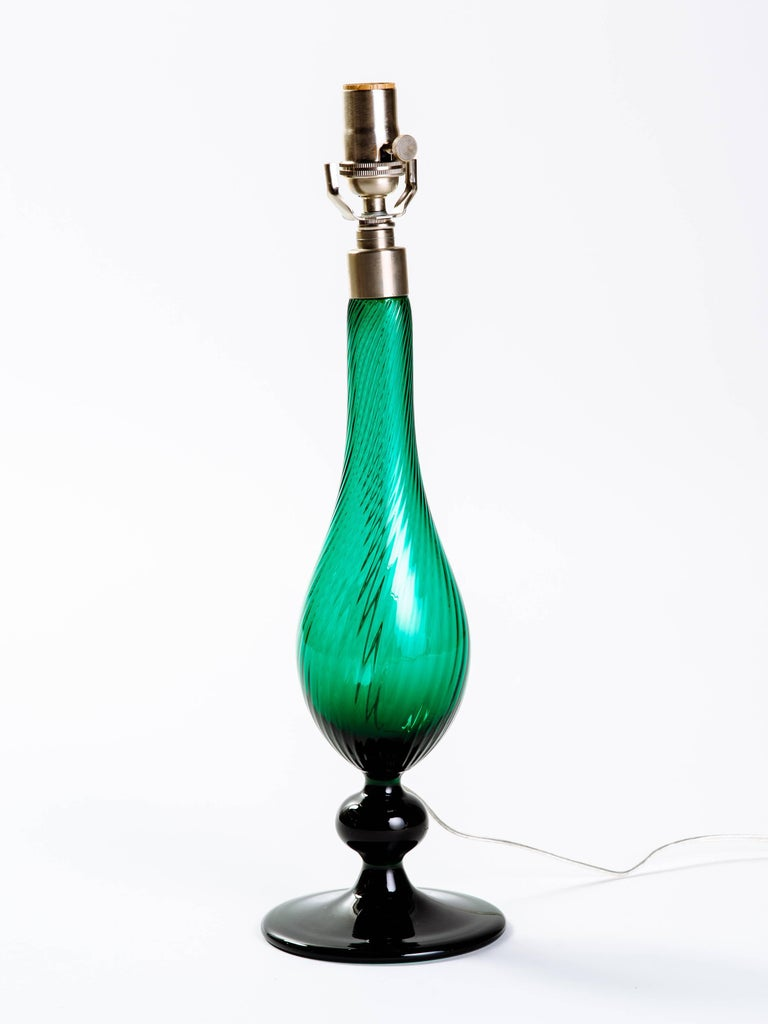 Pair of Swedish Mid-Century Modern Glass Lamps in Emerald Green 5