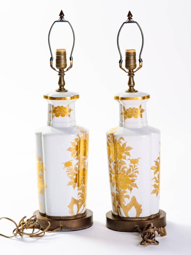 Bronze Pair of Hollywood Regency Porcelain Lamps by Marbro For Sale