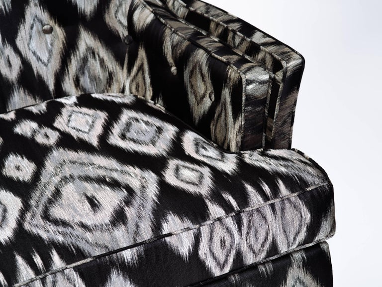 Pair of Hollywood Regency Lounge Chairs in Graphic Ikat Silk 7