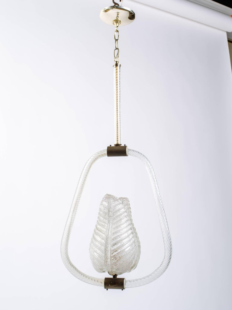 Barovier and Toso Murano Glass Pendant Chandelier with Leaf Design 2