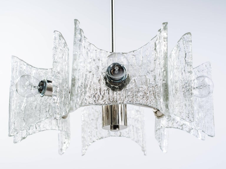 Polished German Mid-Century Modern Ice Glass Chandelier by Kalmar For Sale