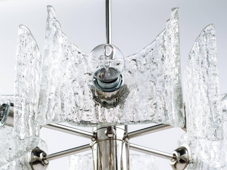 Blown Glass German Mid-Century Modern Ice Glass Chandelier by Kalmar For Sale