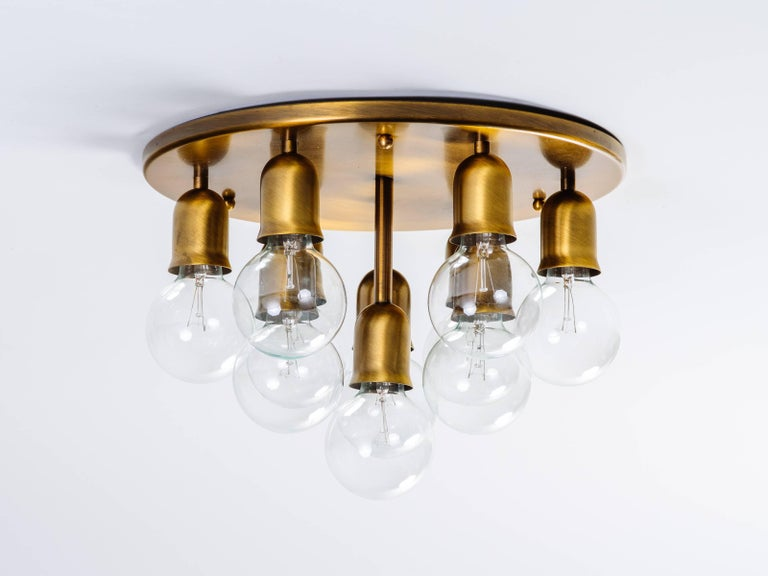 Bronzed German Mid-Century Sputnik Flush Mount Light by Cosack For Sale