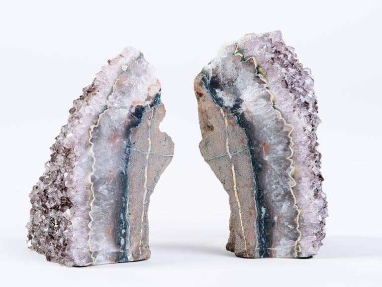 Pair of Organic Amethyst Crystal and Geode Bookends 2
