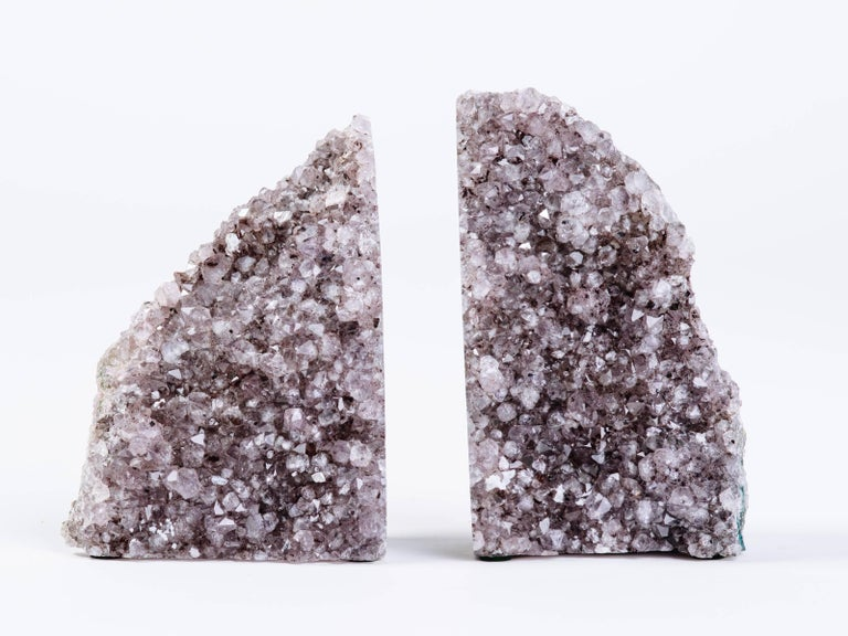 Pair of Organic Amethyst Crystal and Geode Bookends 3