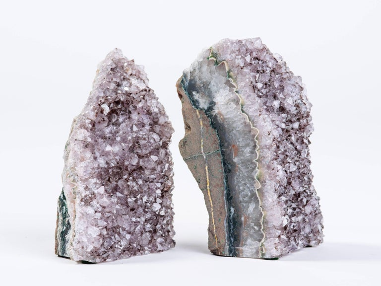 Pair of Organic Amethyst Crystal and Geode Bookends 4