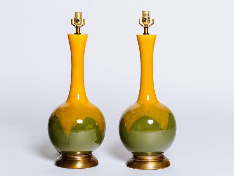 Pair of Mid-Century Modern Ceramic Long Neck Lamps 3