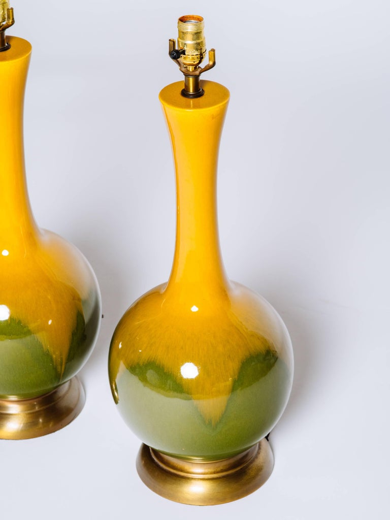 Pair of Mid-Century Modern Ceramic Long Neck Lamps 4