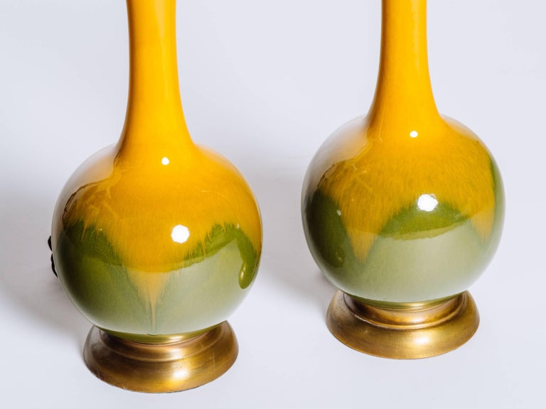 Pair of Mid-Century Modern Ceramic Long Neck Lamps 5