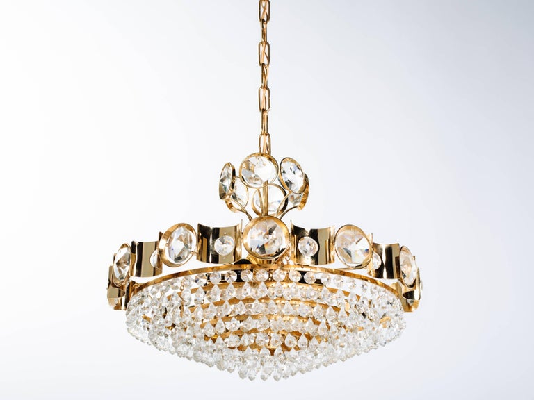Mid-Century Modern Austrian Mid-Century Cut Crystal and Gold Chandelier by Lobmeyr For Sale