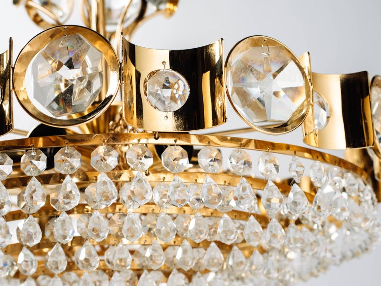 Mid-20th Century Austrian Mid-Century Cut Crystal and Gold Chandelier by Lobmeyr For Sale