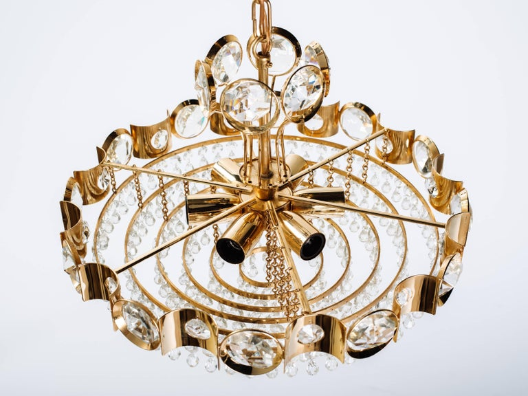 Brass Austrian Mid-Century Cut Crystal and Gold Chandelier by Lobmeyr For Sale