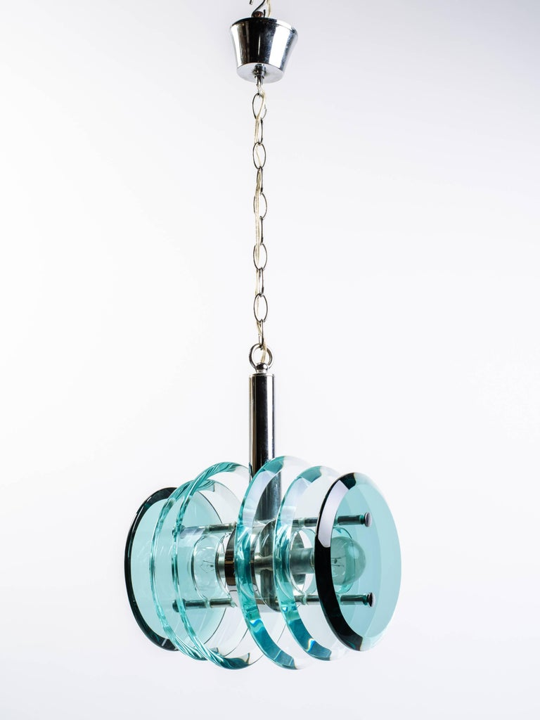 Italian Mid-Century Modern Geometric Glass Pendant Light 9