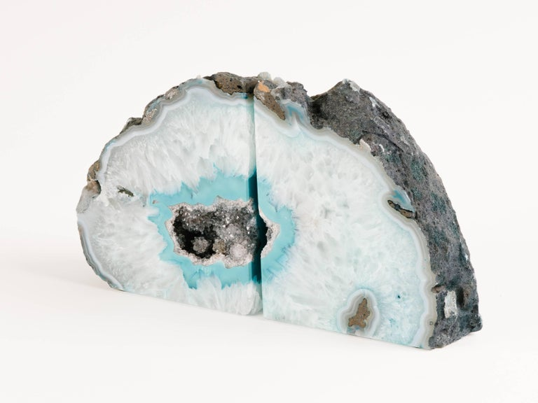 Pair of Organic Quartz Crystal and Turquoise Agate Bookends 2