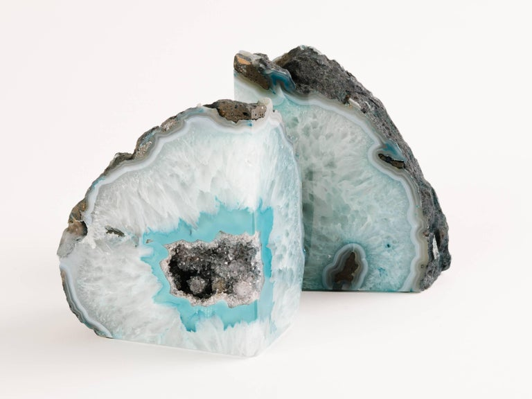Pair of Organic Quartz Crystal and Turquoise Agate Bookends 3