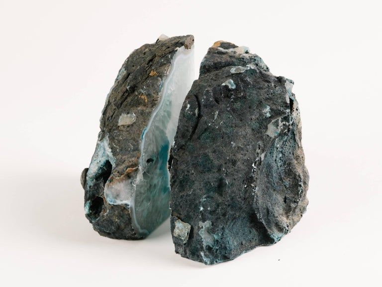 Brazilian Pair of Organic Quartz Crystal and Turquoise Agate Bookends For Sale